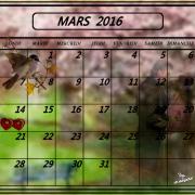 Calendrier mars 2016 fond d ecran