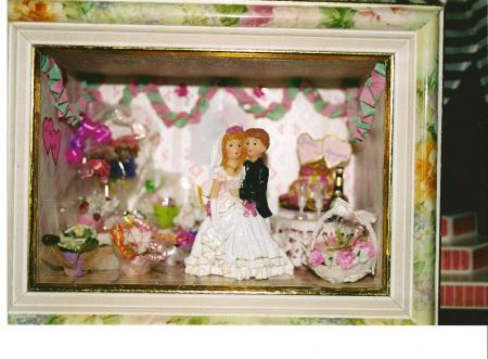 VITRINE LES MARIES FAITE SUR COMMANDE POUR UN MARIAGE